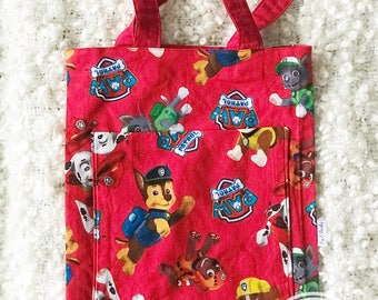Boys Tote Bag, Library bag, book bag, toy bag, Preschool Bag in Paw Patrol - Paw Patrol Tote with Front Pocket, Tote Bag with Pocket