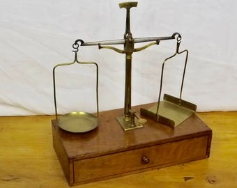 Vintage French Pharmacy / Apothecary  Brass Scales