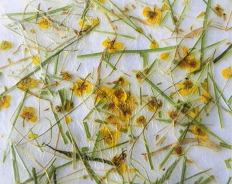"""Handmade gift wrapping and decoration paper with yellow flowers 9,44 x 9,44"""""""