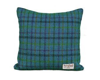 Harris Tweed Cushion| Blue Tartan Cushion| Cushions| Tweed Cushion| Scatter Cushion Pillow| 39 x 39cm| 49 x 49cm| Wool Cushion