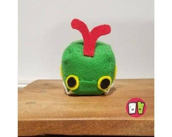 Caterpie Pokemon Cube Plushie - 2 Inch Felt Cube