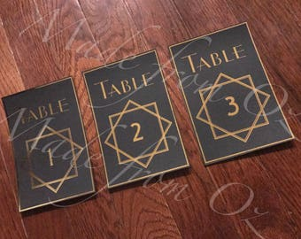 Foil stamped art deco table numbers