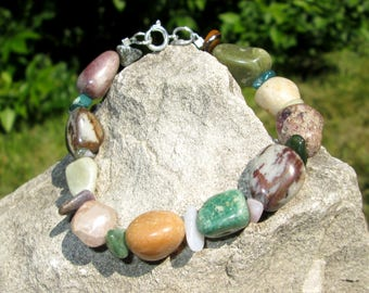 Stone Jewelry - Stone Bracelet - Rock Jewelry - Rock Bracelet - Polished Stones - Polished Rocks - Polished Pebbles  - Nature Jewelry