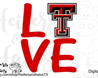 Love Texas Tech SVG CUT FILE, png, pdf, eps, dxf cut file for cricut, silhouette, cutting machines, design for t-shirts, decals, cups, etc.