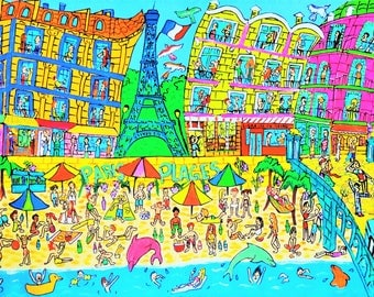 City art. Paris, Eiffel Tower. Paris Plage. Picnic at the beach! Fine art giclée print on archival paper. Acrylic painting.