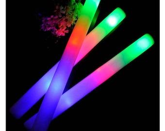 "50 plain ""LED Foam Glow Stick Batons"" - 16"" - 3 Flashing Modes - Weddings, Sweet 16, Birthday, Nightclub"