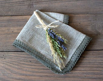Set of 10 wheat and lavender boutonnieres