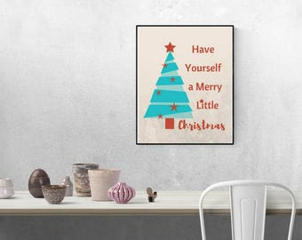 Merry Little Christmas Sign, INSTANT Download, Christmas Wall Art