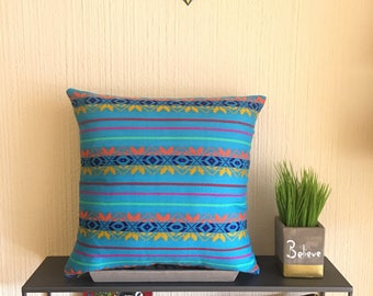"""Blue 16x16""""/18x18""""/20x20"""" Pillow Cover Made With Traditional Mexican Cambaya Fabric"""