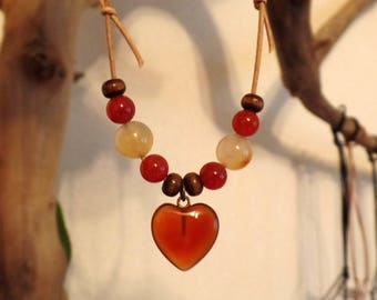 Necklace-life-loving vitality-carnelian, Wood