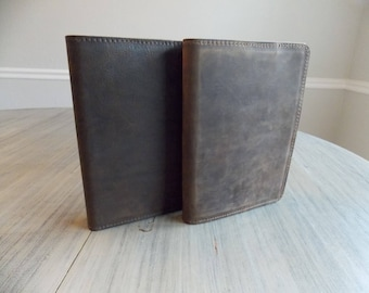"""Leather Notebook Cover, Spiral Notebook Journal Holder 8.5""""x5"""""""