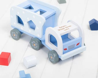 Personalised Blue Stars Shape Sorter Truck