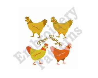 Free Range Chicken - Machine Embroidery Design