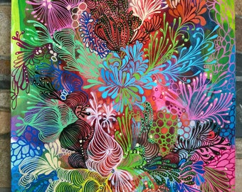 """Decorative painting, intuitive art, done with markers posca and acrylic painting titled """"air"""""""