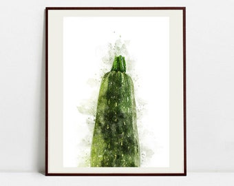 Zucchini Watercolor Art Print, Zucchini Illustration, Kitchen Wall art, Kitchen Wall Decor, Vegetable Print