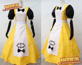 Women's bill Cipher Human dress Female Princess Cosplay Costume Halloween