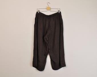 FLAX Linen Pants, Vintage Flax Pants, 90s Minimal Linen Pants, Dark Brown Wide Leg Cropped Pants, Loose Summer Pants, 90s Casual Pants