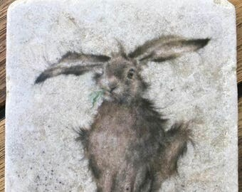 Single Rabbit travertine stone coasters- Handmade decoupage