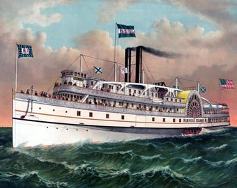 "1882 Steamship Rhode Island Art Print 11"" x 17"" Reproduction"