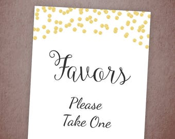 Favors Please Take One Sign Printable, Gold Confetti Thank You Sign, Bridal Shower Sign,Gold Wedding Favor Sign, Party Decorations, A001