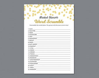 Gold Bridal Shower Word Scramble Game Printable, Polka Dots, Wedding Shower Games, Bachelorette Party, Word Search, Unscramble Words, A004