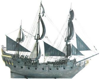 Black Pearl Captain Jack Sparrow Ship Pirates of Caribbean model kit ZVEZDA 9037 + Lighting set