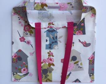 Tote, Cotton Tote Bag, Bird Print Tote Bag, Vintage Fabric Bag, Gift For Teacher, Tote Bag, Tote Bag With Pocket, Bird Print Bag