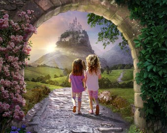 Fairy tale Digital background - backdrop - archway - castle - childrens - fantasy - Composite -  digital dowload stock