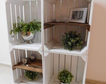 """4 white wooden crates Combi package """"Shabby Chic"""""""