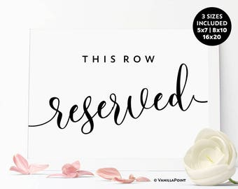 Reserved Row Sign, This Row Reserved, Printable Wedding Sign, Reserved Signs For Wedding, Reserved Wedding Sign Rustic Wedding Reserved Sign