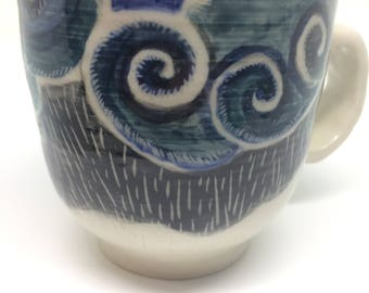 storm cup,unique,handmade,ceramic,pottery, coffee,tea mug,gift,kitchen, dining