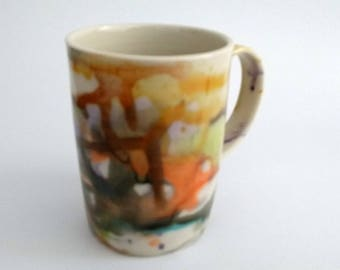 Ceramic mug, handmade, colorful watercolor, contemporary, orange, chartreuse, blue, brown, dark green, coffee mug, hot chocolate