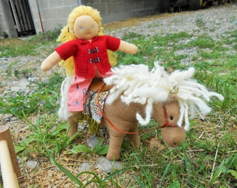 Little Girl & Pony/Organic Waldorf Doll with Horse/Equestrian Doll/Stuffed Horse-Pony/Soft Wool Filled Toys/Mini Waldorf Doll/Doll-Horse Set