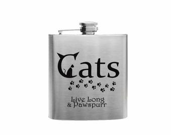 CATS Live Long & Pawspurr // Her Gift  // Funny Flask // Hip Flask for Ladies // 21st Birthday Gift // 7 oz