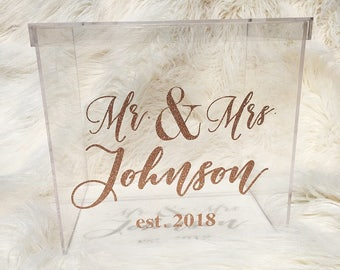 Personalized Wedding Card Box I Acrylic Card Box I Wedding Card Box with Lid | Wedding Money Box | Wedding Card Box | Wedding Card Holder |