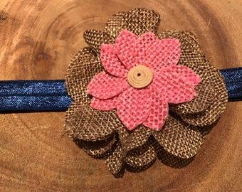 Burlap headband, pink flower headband, pink headband, pink baby headband, flower headband, burlap flower headband, navy blue headband