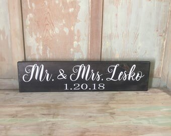"Mr & Mrs Sweetheart Table Sign | Mr and Mrs Sign | Sweetheart Table | Wedding Table Decor | Wedding Table Sign | Wedding Date |6"" x 24"""