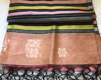 "Vintage Thai silk throw 70"" long by 23"" wide with long fringes"