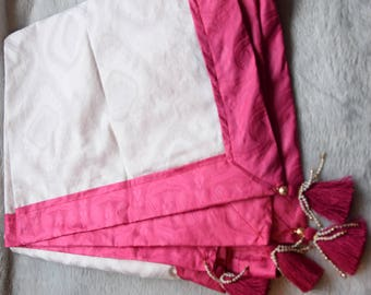 Hot Pink and White Wrap with Tassles African Silk for Teens, Women and Ladies Gift