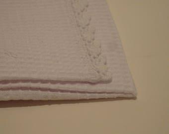 White Crochet Edge Burp Cloth Waffle