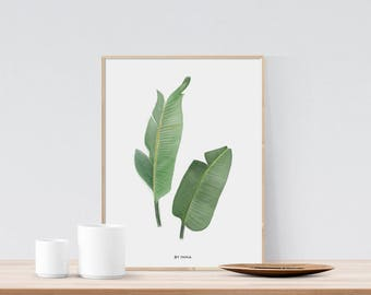 Banana leaf print, Palm leaf print, Palm leaf printable, Botanical print, Jungalow style, Greenery print, Palm leaf watercolor printable