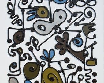 La finesse d'esprit,abstract art,original painting,Frank le Pair,Walking by lines,line pattern,relief lines,colorful,Dutch,cotton canvas
