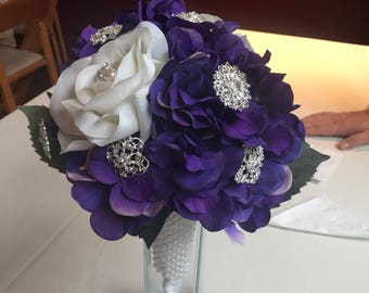 Purple and white brooch bouquet