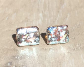 Dichroic Fused Glass Stud Earrings - Clear Dewdrop Texture Silver Dichroic with Sterling Silver Posts