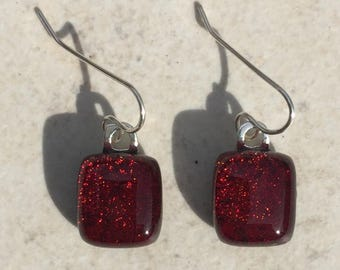 Dichroic Fused Glass Earrings - Red Dichroic Earrings with Solid Sterling Silver Ear Wires