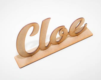 Personalized wood name with holder - Scrip calligraphy name sign, Laser cut, Custom wood name, kids decoration, Gift kids, Party deco,