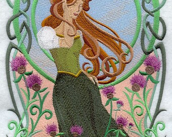 Art Nouveau Celtic Beauty (7 x 12) Iron-on Patch // Iron on Patch // Embroidered Patch // MADE TO ORDER