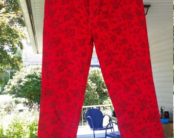 Deadstock Chic Red floral corduroy jeans NOS