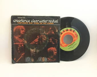 "Creedence Clearwater Revival ""Fortunate Son"" and ""Down On The Corner"" Original Recording 45 RPM Fantasy Label with Picture Sleeve"