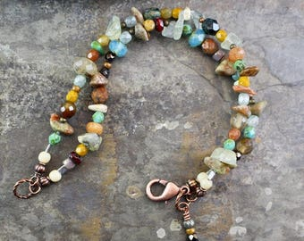 NEW Viking inspired bracelet, double strand,natural stone chips and beads,matubo beads, Czech glass beads,copper lobster clasp,B165